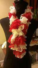 Hand Made Crochet Ruffle Scarf, Red & White Razorbacks Coyotes Cardinals
