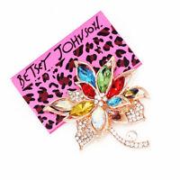 Betsey Johnson Colorful Crystal Rhinestone Maple Leaf Charm Women's Brooch Pin