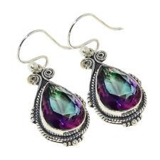 "Rainbow Mystic Fire Topaz .925 Silver Jewelry Earring 1.77"""