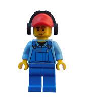 Lego Mann Frachtarbeiter blaue Beine rote Kappe Minifigur City cty421 Neu