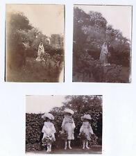 Victorian Wedding, Bride, Groom & Bridesmaids - 3x Antique Photographs c1895