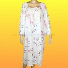 Damen Nachthemd mit 3/4 Arm Baumwolle (Gr. 56 - 60) von Graziella in weiß