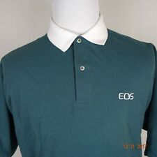 Canon Camera EOS XL Men Vantage Green S/S Button Collared Polo Shirt S02