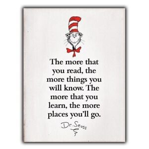 """""""The more that you read"""" Dr. Seuss Quote METAL SIGN WALL PLAQUE print poster a5"""