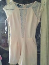 NWT Bebe Pink /Peach Lace Romper - Size XS
