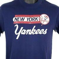 New York Yankees T Shirt Vintage 80s MLB Baseball 50/50 Made In USA Size Large