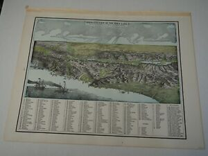 """Antique Map """"Bird Eye View of The Holy Land"""" Reverse Palestine"""