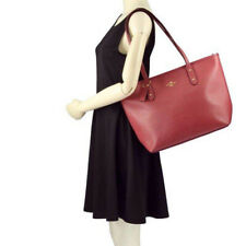 NWT COACH City Zip Top Tote Bag Purse Crossgrain Leather Rouge Pink Gold F58846