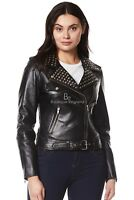 Ladies DOMINO Real Leather Jacket Black Rock Star Women Studded Biker Style 4326
