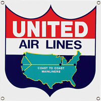 United Airlines Aircraft Airplane Flight Flying Vintage Aviation Metal Sign