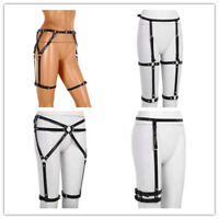 Punk Gothic Adjustable Leather Harness Body Cage Waist Cincher Leg Garter Belt