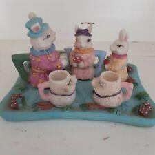Fairy House garden miniature tea set bunnies tray