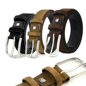 """100% Genuine Suede Leather Belt for Dress/Suits/Jeans, S(32"""") to 10XL(60"""") Belts"""