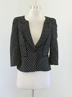 White House Black Market Polka Dot 3/4 Sleeve Peplum Blazer Jacket Size 4 Career