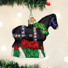 Black Clydesdale Horse Glass Ornament