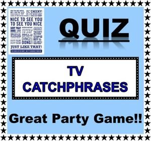 'TV CATCHPHRASES' Pub Quiz-Trivia Game-Table Game-Adults/Families/Zoom