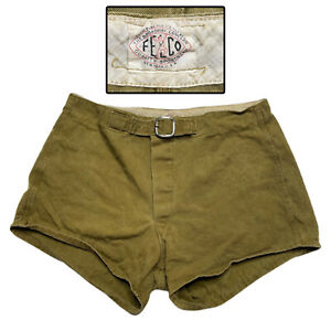 """Vintage 30s 40s Felco Sportswear Belted Shorts Military Tan 30"""" World War 2 WWII"""