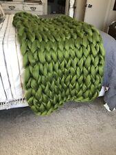 Chunky Knit Blanket - Merino Wool Blend - Grass Green - Chunky Knit
