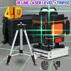 4D Laser Level 16 Lines Green Light Auto Self Leveling 360° Rotary Cross