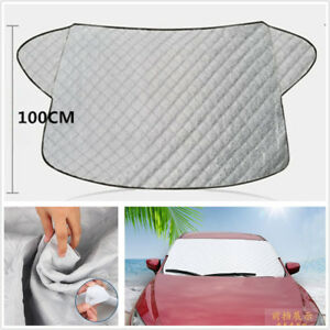 Silver 4-Seasons Car SUV Front Windshield Snow Ice Cover Sun Shade Protector Kit