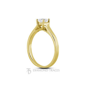 3/4ct F SI1 Princess Natural Certified Diamond 14k  Solitaire Engagement Ring