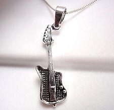Electric Guitar Pendant Sterling Silver Corona Sun Jewelry musician guitarist