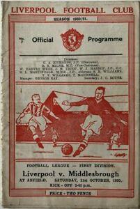 1950/51 Liverpool v Middlesbrough Original Football Programme 21/10/50