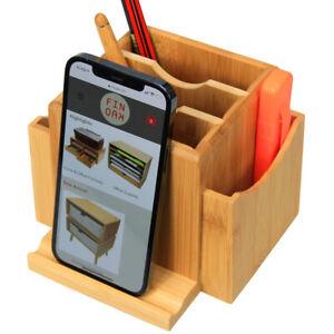 Bamboo Revolving Desk Organiser Tidy, Stationery Storage Box, Phone Holder