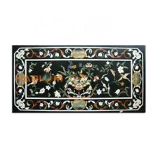 4'x2' Black Marble Dining Table Top Floral With Birds Home Furniture Decor B359
