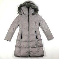 Saks Fifth Avenue Womens XS Gray Puffer Down Fill Hooded Lightweight Coat