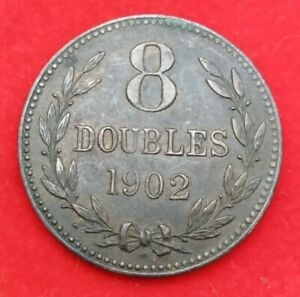 1902 Guernsey GUERNESEY 8 Doubles Copper Coin Heaton Mint Channel Islands Penny