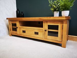 Oak Large TV Stand / Wide Television Unit / Solid Wood Media Cabinet DVD Storage