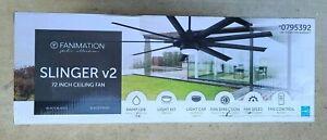 "Fanimation Slinger v2 72"" Matte Black Ceiling Fan w/ Remote & Light Kit"