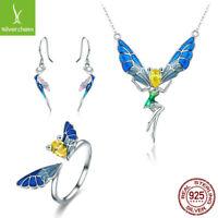 Forest Fairy S925 Sterling Silver Hook Earrings Necklace Open Ring Jewelry Set