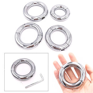4 Size Metal Ball Stretcher Man Enhancer Chastity Ring Delay Time Tool Silver