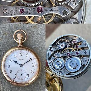 1912 23 Jewels 16s Ruby banking pins High-Grade E Howard Railroad Pocket Watch