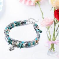 Retro Vintage Shell Starfish Beads Anklets Multi-Layer Handmade Je Bracelet Q3T2