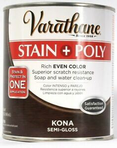 1 Can Varathane 32 Oz Stain & Poly 266153 Kona Semi Gloss Rich Even Color