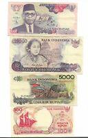 Lotto banconote Indonesia 100 5000 10000  rupie rupiah