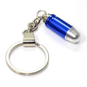3D Blue Bullet Key Chain Ring Fob - for house, home, car, truck, bike keys