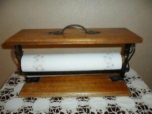 OLD PRIMITIVE WOOD, DECORATIVE METAL HAND MADE PAPER TOWEL / TOILET PAPER HOLDER