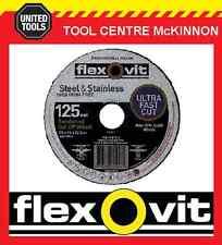 """100 X Flexovit 125mm / 5"""" Mega-line Ultra Thin Metal Cutting Cut-off Wheel"""