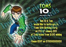 10 personalised Childrens Birthday invitations Ben 10. Kids party invites