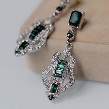 Costume Earrings Clip on Silver Chandelier Art Deco Green Emerald Wedding J8
