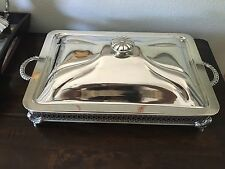 Antique International Silver Co. Silverplated Chafing Dish Buffet Server w/Lid