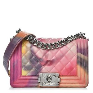 CHANEL Boy Small Flower Power Lambskin Quilted Flap Bag 100% Auth