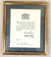 British Police Force Memorabilia 1926 General Strike Framed Award Certificate