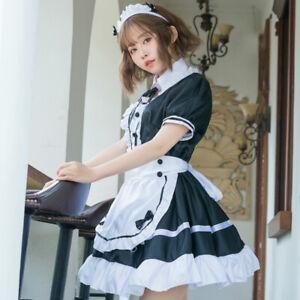 Donna Francese Cameriera Costume Vestito Uniforme Taglie Forti da Cosplay