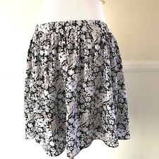 LC Lauren Conrad Flare Circle Mini Skirt Womens Size SMALL Blue Black Floral