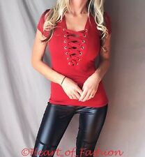 SEXY Corset Lace Up Ribbon Detail Caged Stretch Short Sleeve Stretch Top Shirt